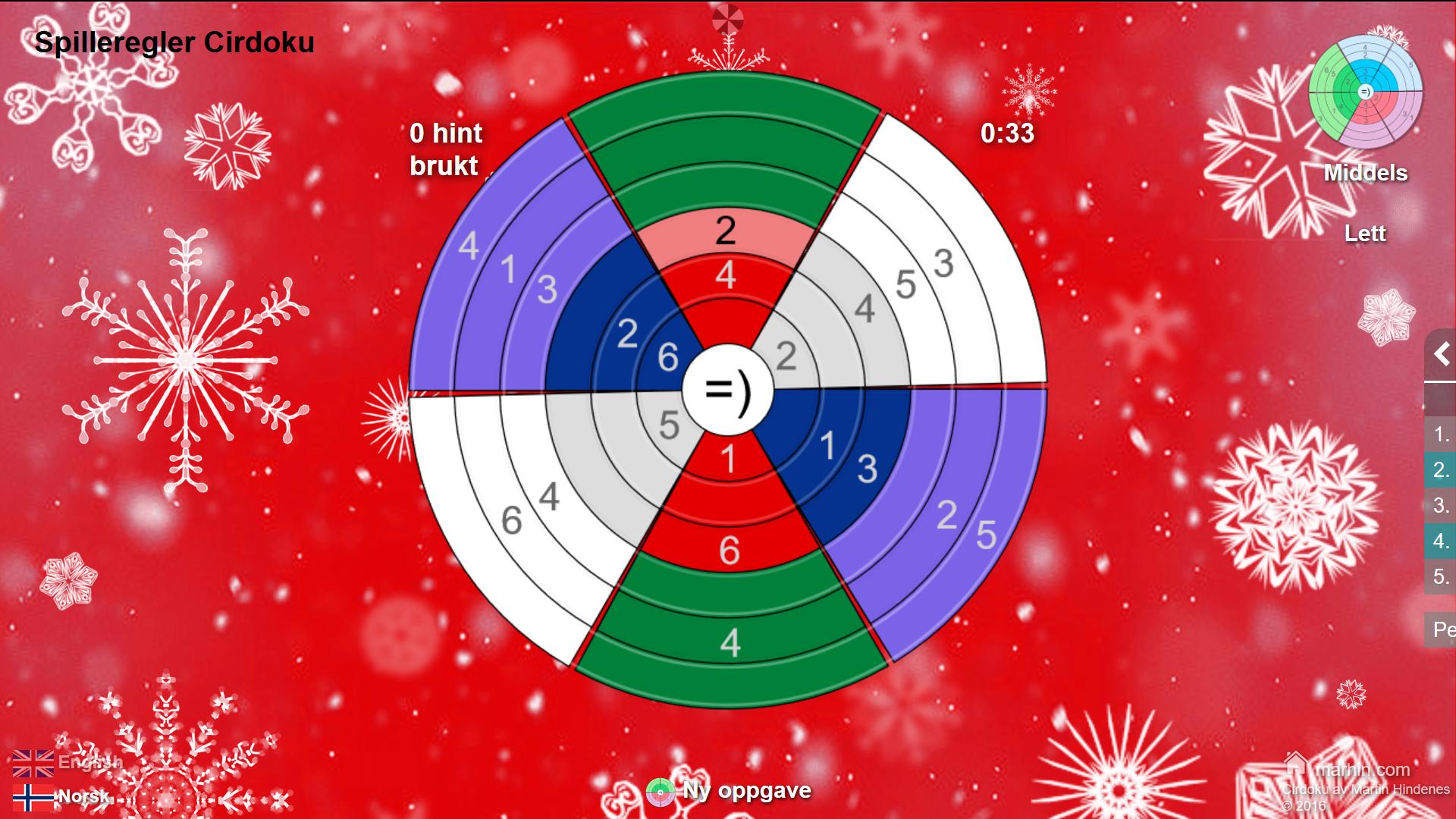 Sirkel-sudoku med julefarger